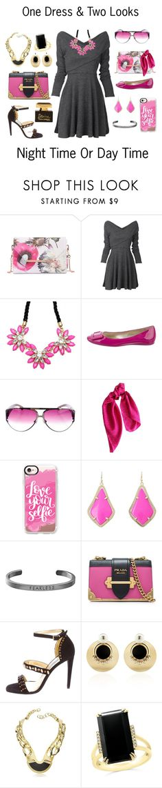 """Night & Day Contest"" by shamrockclover ❤ liked on Polyvore featuring Ted Baker, Roger Vivier, Chrome Hearts, DKNY, Casetify, Kendra Scott, Steve Madden, Prada, Anton Heunis and Pluma"