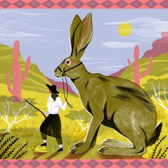 Kaley McKean Illustration | Riding Hare (jackrabbit), 2016. Available for sale on Society6 https://society6.com/product/riding-hare_print#s6-4092324p4a1v45