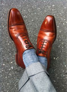 Brown Oxfords with light blue socks