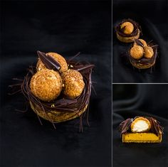 Nina Tarasova - The ChefsTalk Project-Tartlet nests: almond pate scurry with cannel and suscovado; honey creme with caramelized white chocolate;pate chop with croustillant sable; whipped camomile ganache and chocolate decorations
