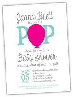 'Ready to Pop' Baby Shower Invitation. Purchase this customizable invite here: https://www.etsy.com/shop/CaffeineColour?ref=si_shop