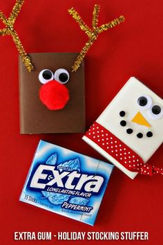Christmas Gifts : Illustration Description Extra Gum Reindeer & Snowman Stocking Stuffers and… Christmas Goodies, Christmas Wrapping, Diy Christmas Gifts, Christmas Stockings, Christmas Holidays, Student Christmas Gifts, Christmas Ideas, Christmas Tables, Cheap Christmas