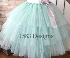 Three Tiered Custom Made Ribbon Tutu Skirt For adults and big kids by 1583Designs any colors or sizes mint silver layered special event wedding flower girl photo prop portraits engagement bachelorette