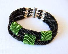 Beded crochet bracelet - Beadwork bracelet - 3 Strand Bead Crochet Bracelet in black and green - modern bracelet