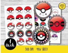 50% OFF SALE Pokeball bottlecap-Pokemon bottlecap-1 inch Bottlecap-Printable…