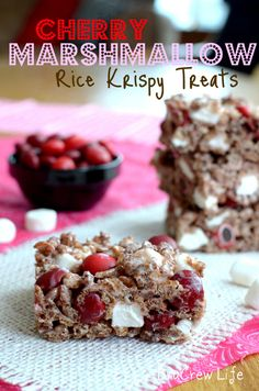 Cherry Marshmallow Rice Krispie Treats - chocolate rice krispies made with cherry m's and extra marshmallows @brucrewlife