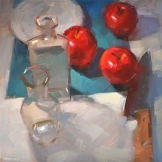 "Daily Paintworks - ""Apple Bottle Battle"" - Original Fine Art for Sale - © Carol Marine"