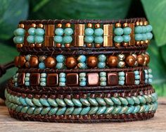 Tila Beaded Leather Wrap Bracelet Green Bronze by PJsPrettys