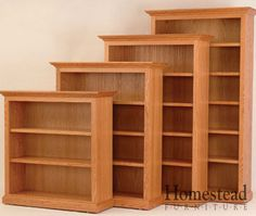 """Executive 48"""" Width Bookcases This bookcase will solve your storage needs. Choose from a large variety of available hardwoods, stains and finishes http://homesteadfurnitureonline.com/bookshelves_executive-48-width.html"""
