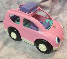 Fisher Price Little People Car Van Family Baby Mom Figure Talking Pink #FisherPrice