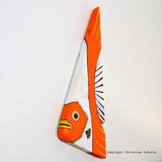 Angel Wood Fish Painted Orange and White Folk Art