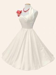 1950s Halterneck Ivory Satin Dress
