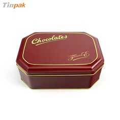 The octagonal chocolate metal tins with elegant printing and vivid embossing on the lid. http://www.tinpak.us/Products/CustomChocolateMetalTins.html