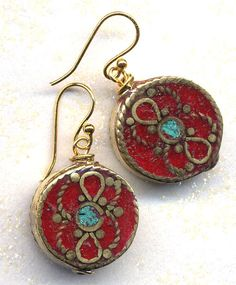 Nepal Earrings - Turquoise, Coral Inlay, 18K Gold Filled Wire - Nepal Jewelry by AnnaArt72