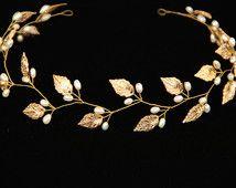 greek crown, gold leaf tiara, crystals tiara, laurel crown, grecian goddess crown, greek tiara, pearl hair, bridal halo, silver leaves tiara