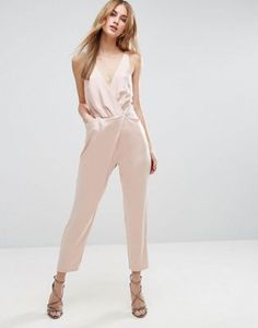 Asos Cami Wrap Jumpsuit with Peg Leg In Satin Wrap Jumpsuit, Pink Jumpsuit, Nude Jumpsuits, Jumpsuits For Women, Jumpsuit Elegante, Chic Outfits, Fashion Outfits, Wedding Jumpsuit, Light Dress