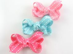 Choose Your Color Baby Hair Bow  Hot Pink Aqua Blue by PoppyBows, $3.75