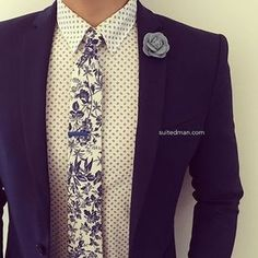 Love that @Suited_Man style with their wide selection of floral ties and lapel pins   Get them now at www.suitedman.com   Follow @suited_man #suitup @SuitedManStyle