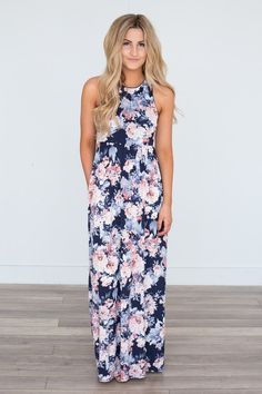 4bf7e53ae8 Floral Print Racerback Maxi Dress - Navy Pink Navy Pink