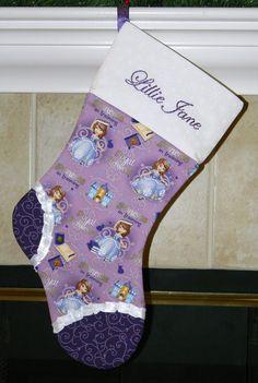 Girls Sofia the First Disney purple personalized Christmas stocking CUSTOM