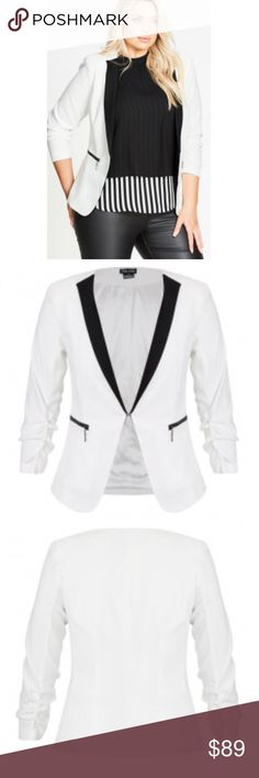 City Chic So Chic Jacket Blazer NWT Size 24 XXL So Chic Blazer Jacket in ivory with black trim from City Chic. A size 24 at City Chic is equivalent to a size 26 at Lane Bryant or a 4 at Torrid. New with tags.No trades. City Chic Jackets & Coats Blazers