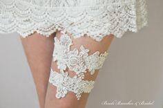 White Lace Garter Set Wedding Garter Set by BeadsBroochesBridal