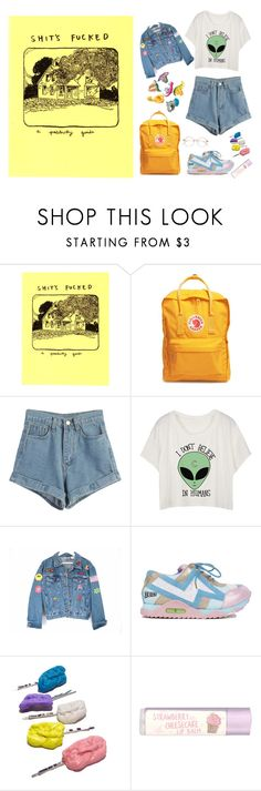 """art hoe aesthetic"" by mintsaway ❤ liked on Polyvore featuring Fjällräven, WithChic, Irregular Choice, Paperchase, cute, yellow, Alien and arthoe"