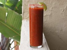 This non-alcoholic Bloody Maria is perfect for those lazy Sundays when you want to spend every minute outside. Stay at your grill and toss the tomatoes, peppers, and onions alongside your burgers, making sure they get a nice char. Yes, you will have to venture inside to blend it all together, but it really won't take long.