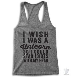 I Wish I Was A Unicorn Racerback #act-like-a-lady-tank #baseball-love #baseball-tank-top