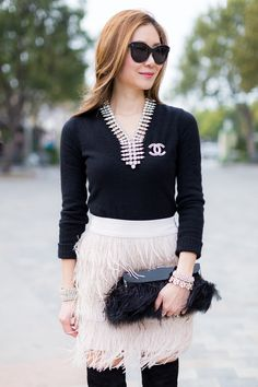 Outfit Ideas, Style Inspiration, Winter Fashion, Feather Skirt, Chanel Brooch