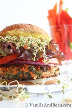 Sweet Potato Veggie Burger~! Oh man does this ever look delicious!