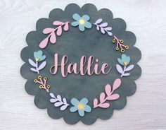 Your plaque will be lovingly designed on my computer, before being precisely cut out using a laser machine. Wooden Name Plaques, Wooden Names, Wooden Wall Art, Wood Crafts, Diy Crafts, Baby Name Signs, Pastel Floral, Art Floral, Baby Mobile