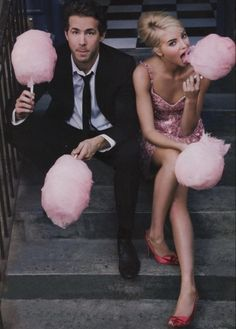 Just eating cotton candy with Ryan Reynolds, totally normal stuff.
