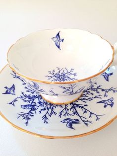antique blue and white china tea cup and saucer with gold trim Blue And White China, Blue China, China China, Café Chocolate, Teapots And Cups, My Cup Of Tea, Vintage China, Vintage Teacups, Tea Cup Saucer