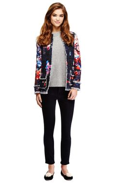 Floral-Print Tweed Jacket by MSGM Now Available on Moda Operandi