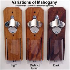 Mahogany and Stainless Steel Cap Catcher Bottle Opener - Magnetic or Wall-Mount. $39.90, via Etsy. In the Dark color
