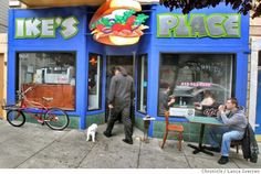 Ike's Place at 3506 16th St, in San Francisco a popular sandwich shop that has both inside and sidewalk seating.  Photographed in San Franci...