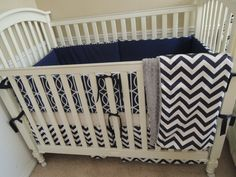 Dwell Navy Blue Chevron Custom Baby Bedding Set  Price is for the entire set (Bumper,Skirt, Blanket, not shown)  100% Machine Washable Cotton  Filled