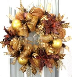Deco Mesh CHRISTMAS Wreath For Door or Wall Gold Brown Poinsettia Wreath Cheetah