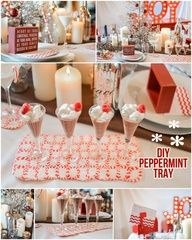 Peppermint Trays/Coasters/Frames  ~ Arrange design on cookie tray lined with parchment paper (Wax will stick) allow for extra room around the sides, Heat oven 350 degrees, heat 6-10 minutes, cools in approx 5 minutes - Must try this! Alternate with green and red for some extra flare!