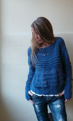 Dusky blue oversized grunge chunky sweater by ileaiye on Etsy,