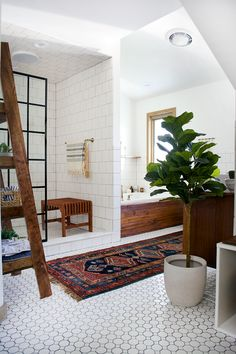 Modern Vintage Bathroom Makeover - You HAVE to see the before & after photos of this!