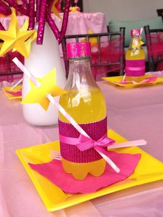 Place settings at a Rockstar girl Birthday Party!  See more party planning ideas at CatchMyParty.com!