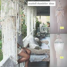 Romantische Boheemse kroonluchters  Echte schelpen één voor één met de hand geregen aan nylon draad  en als eindresultaat deze prachtige decoraties voor in huis, woon, bad, slaapkamer of veranda.   Ambacht uit Bali Indonesië
