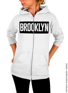 "Use coupon code ""pinterest"" Brooklyn - White Zip Up Hoodie by DentzDenim"