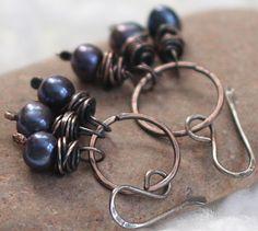 Hammered Copper Hoop Earrings Blue Pearls Antiqued Copper Jewelry. $21.00, via Etsy.