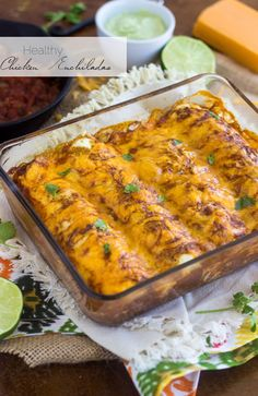 Healthy Chicken Enchiladas - A secret ingredient makes these low carb, GF and high protein! | Food Faith Fitness | #recipe #enchilada #healthy