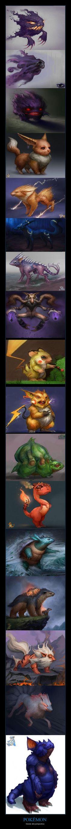Pokemon, realistic illustrations