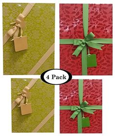 Christmas Gift Boxes With LIds- 4 pack Assortment Bundle – Includes Ribbon and Card Tag - Red and Green * Additional info  : Christmas Gifts
