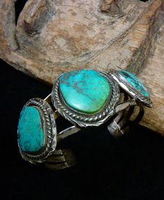 PRIMITIVE 70 gram Old Pawn Vintage Navajo Sterling Silver Cuff Bracelet w OLD Fox Mine Turquoise! Great Old Piece!